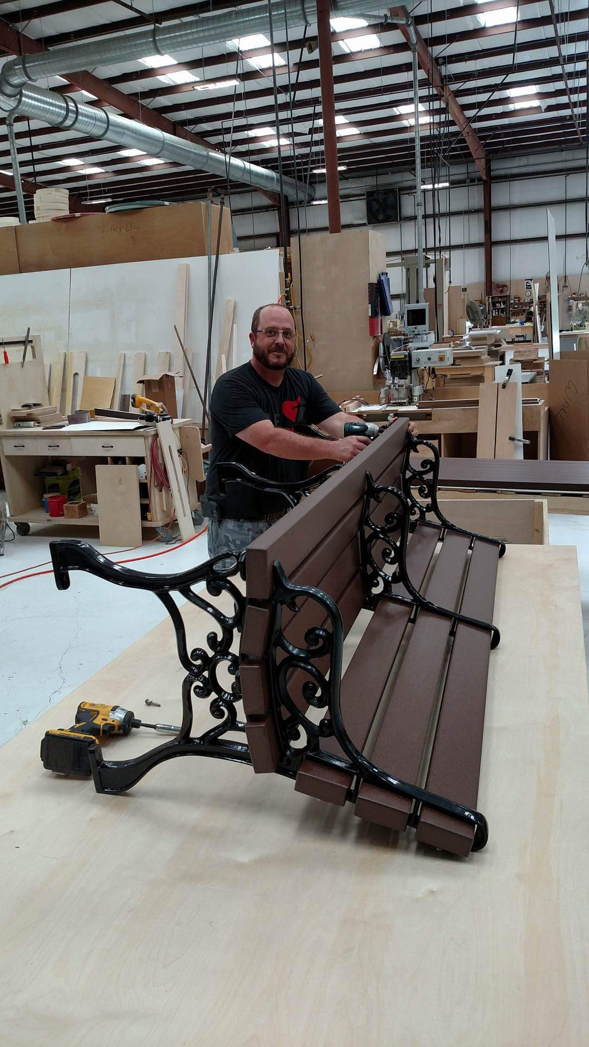 Scott Fisher assembling the benches