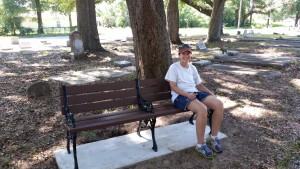 Elly Fisher, our grant writer, enjoying a rest after MUCH work installing the benches